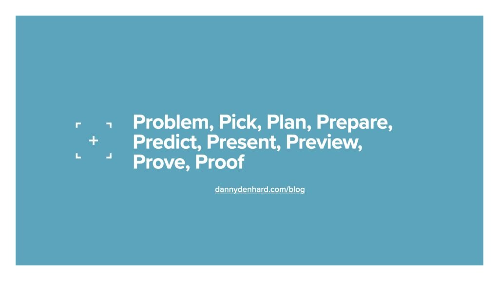 Problem, pick, plan, prepare, predict, present, preview, prove, proof - the 9 p's